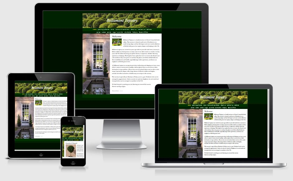 Bellamont Topiary - Website design and CMS by Alacrify