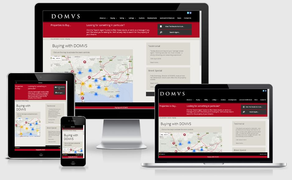 DOMVS map of properties to buy - web design by Alacrify